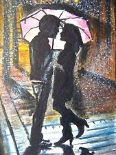 Watercolor Painting Couple Umbrella Rain Night City Love Kiss Nature ACEO Art