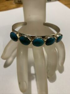 GREAT JAY KING STERLING SILVER TURQUOISE CUFF BRACELET