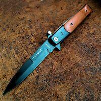 "9"" Black Blade Hardwood Fast Assisted Opening Tactical Stiletto Pocket Knife"