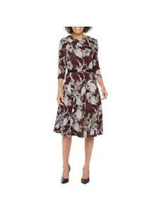 ROBBIE BEE Womens Burgundy 3/4 Sleeve Knee Length Fit + Flare Dress Petites PS