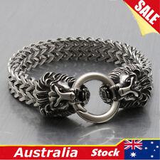 316l Stainless Steel Lion Heads Franco Cuban Chain Silver Men's Biker Bracelet