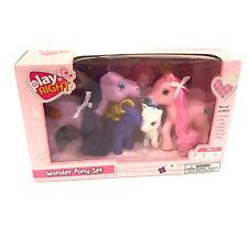 "Wonder Pony Play Right Set 4-pk Plastic Horses 4.5-2.5"" Tall Figures Pink White"