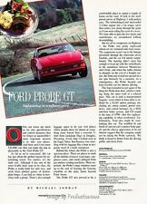 1991 Ford Probe GT Original Car Review Print Article J38
