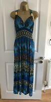 Mia Suri Maxi Dress Size UK 14 Blue Gold Paisley Patterned Summer Womens Beach