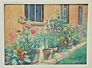 IVY DELON Vintage Pastel Adobe Flowers Garden Botanical Signed Large Painting