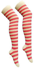 NEW STRIPED OVER KNEE HIGHS COTTON BLEND THIGH HIGH LONG RED WHITE STRIPE SOCKS