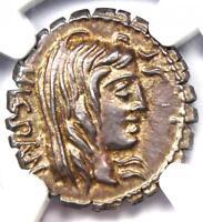 Roman A. Post. Albinus AR Denarius Serratus Silver Coin 81 BC - NGC Choice AU