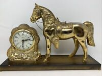 VINTAGE BRASS TONE FINISH HORSE & CLOCK/  MOVEMENT by UNITED MADE in USA WORKING