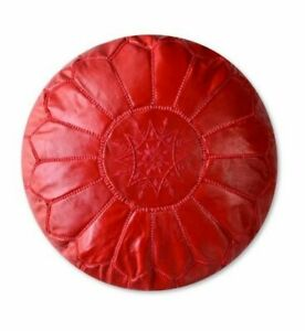 Moroccan Leather pouf Handmade Ottoman Luxury Pouffe Red Footstool