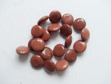 2pz perline  in pietra del sole rotonda piatta 20mm colore marrone