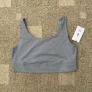 Nike Yoga Luxe Womens Infinalon Cropped Tank Top Size 2XL Particle Gray CV0576