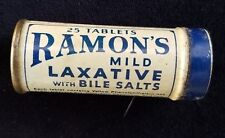 Old Advertising Medicine Tin Ramon's Mild Laxative Bile Salts Brown Le Roy NY