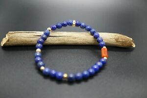 Lapis Lazuli with Coral Beaded Bracelet 5.5MM Stretch Bracelet For Her