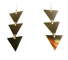 Unique Brand New (Cl8) Ladies Triangular Drop Earrings Gold