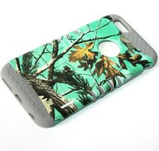 For iPhone 6+ / 6S+ Plus -HARD&SOFT RUBBER HYBRID CASE MINT GREEN HUNTER TREE