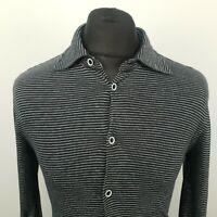 ARMANI Mens Shirt Long Sleeve Top STRETCHY LARGE Black EXTRA SLIM SKINNY Striped