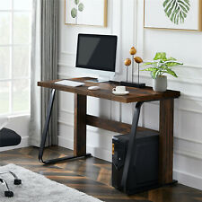 Solid Wood Rustic Brown Computer Desk Pc Laptop Writing Study Gaming Workstation