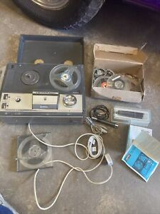 VINTAGE GRUNDIG REEL TO REEL TAPE RECORDER TK120 WITH TAPES DAMAGED GWO