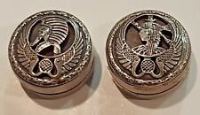 Unique Pair Antique Pill Snuff Trinket Ring Boxes ~ Antony & Cleopatra Theme