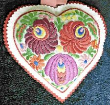 Vintage Heart Pin Cushion With Embroidered Flowers