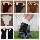 Women Girl Crochet Knitted Lace Trim Boot Cuffs Toppers Leg Warmers Winter Socks