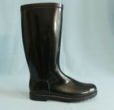 Black Rain Boots 100% PVC Womens Size 39EU 8US Made In Italy Fabric Lined