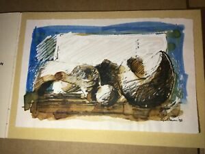 Rare Gerald J Nason Postcard Size Painting Of Henry Moore Sculpture 98