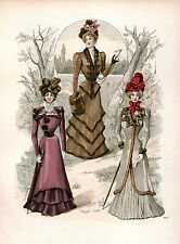 3 Victorian Edwardian Ladies Dress Design Fashion Colour Reproduction Prints NEW