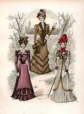 3 Victoriano Eduardiano Vestido De Las Señoras Diseño Moda Color Reproducción