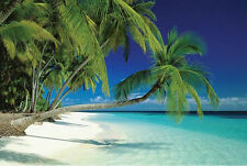 Maldives Beach Poster Beauty White Sand Blue sky Tropical Island Decorative New!