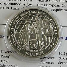 ISOLA di Man 1996 15 EURO LA BOHEME SILVER PROOF Crown-COA