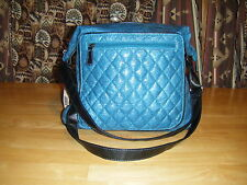 """Womens ATTENTION Turquoise/Black Shoulder Handbag Purse Tote - 15"""" Tall NwT"""