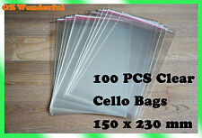 100 pcs 150 x 230mm + 35mm Flap CELLOPHANE CELLO CLEAR BAGS SELF ADHESIVE