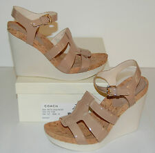 New $188 Coach Leala Patent Leather Wedge Sandal 9.5 M Flax Cork