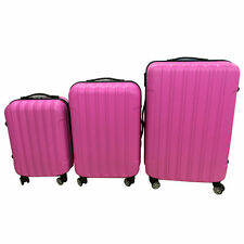 3PCS LUGGAGE TRAVEL SET ABS BAG TROLLY HARD SHELL SUITCASE W/TSA LOCK CUTE PINK