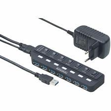 Xystec USB 3.0 Hub 7fach aktiv einzeln schaltbare Ports