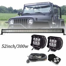 Ford F150 Dodge Ram GMC Sierra Canyon Chevrolet  52INCH LED Light Bar + Cube Pod