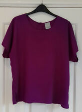Vintage CLASSIC WOMAN (Debenhams?) plum short sleeved blouse, Size 14, used
