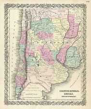 1855 Colton Map of Argentina, Chile, Paraguay and Uruguay