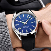 Fashion 41mm Automatic Men's Watch Date Window SS Case Leather Strap Sapphire