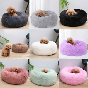 Pet Cat Dog Calming Bed Warm Soft Plush Round Nest Comfy Sleeping Kennel Cave OZ
