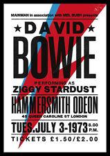 David Bowie Repro Tour AFFICHE 1973 Ziggy Stardust Hammersmith