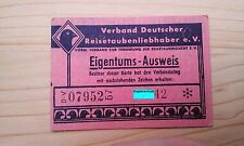 Rarität !! Brieftauben – Eigentumsausweis 1957 Homburg Saar racing pigeon duiven