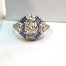 18k white gold Vintage ANTIQUE art deco ring  cushion OLD mine 1.05ct Diamond