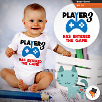 PLAYER 3 HAS ENTERED THE GAME FUNNY BABY GROWS BODY SUIT FOR GAMER GIFT PRESENT
