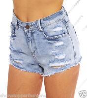 Size 6 8 10 12 14 NEW HIGH WAIST SHORTS Ladies DENIM RIP HIGH WAISTED HOTPANTS