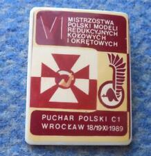 VI th POLAND CHAMPIONSHIPS CONTROL LINE MODEL AUTOMOBILE SHIPS 1989 PIN BADGE