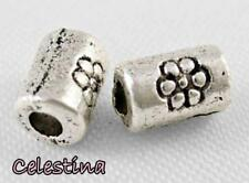 50 x 5mm Antique Silver Plated Spacer Beads - Tube Spacers - Flower Design NF