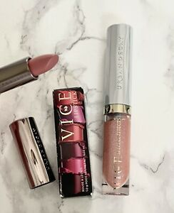 Urban Decay Vice UD Lip Topcoat FEVER Full Size & Travel Vice Lipstick Naked NIB