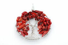 Red Bamboo Coral Tree of Life 50mm Pendant